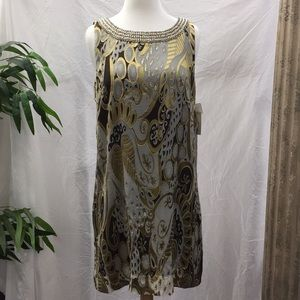 eci New York Sleeveless Dress w/ Beading & Pearls
